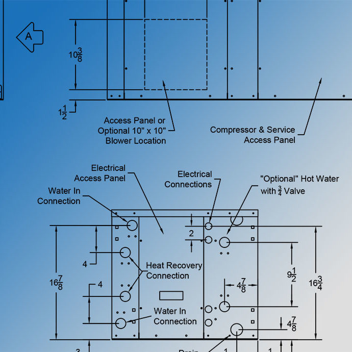 Geothermal water source heat pump units diagrams